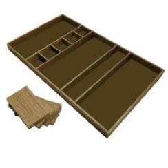 houten bestekbakken met viltbodem en losse schotjes
